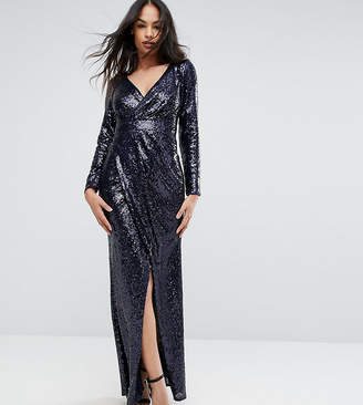 TFNC Wrap Over Sequin Maxi Dress
