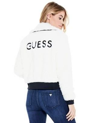 Factory Guess Women's Marni Logo Faux-Fur Jacket