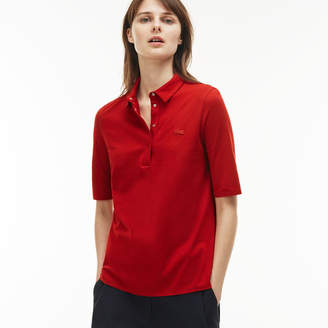 Lacoste Women's Pleated Back Cotton Jersey Polo
