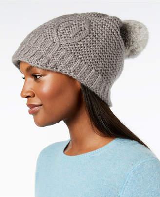Surell Rabbit-Fur Pom Pom Knit Hat