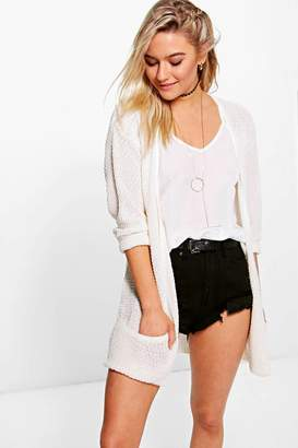 boohoo Loose Knit Slouchy Pocket Cardigan