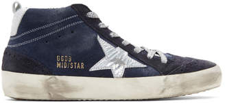 Golden Goose Indigo Suede Mid Star Sneakers