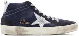 Golden Goose Indigo Suede Mid Star Sneakers