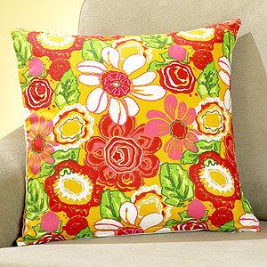 Golden Floral Embroidered Toss Pillow