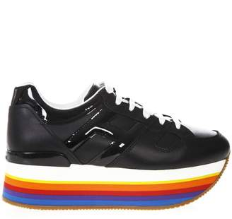 Hogan Maxi H222 Black Leather Sneakers