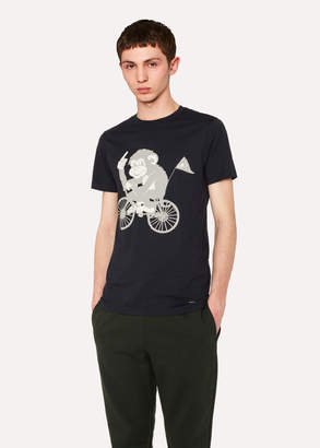 Paul Smith Men's Slim-Fit Navy 'Cycling Monkey' Print T-Shirt