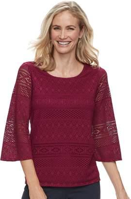 Dana Buchman Women's Lace Bell-Sleeve Top