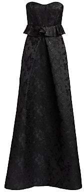 ML Monique Lhuillier Women's Strapless Floral Jacquard Peplum Gown - Size 0