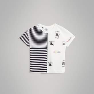 Burberry Childrens Archive Logo Print Striped Cotton T-shirt