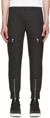 Neil Barrett Grey Wool Cargo Trousers $780 thestylecure.com