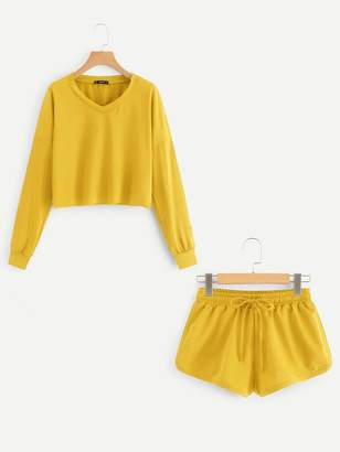 Shein Drop Shoulder Raw Hem Pullover & Sweat Shorts Set