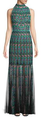 Tadashi Shoji Embroidered Sleeveless Lace Gown w/ Floral Motif