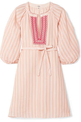 Lemlem Nefasi Embroidered Striped Cotton-blend Gauze Mini Dress - Coral