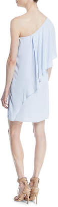 Halston Flowy Draped One-Shoulder Cocktail Dress