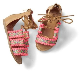 Embroidery lace-up sandals $24.95 thestylecure.com