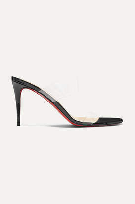Christian Louboutin Just Nothing 85 Pvc And Patent-leather Mules - Black