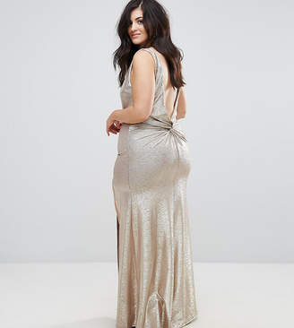 TFNC Plus Plus High Neck Metallic Maxi Dress With Back Knot