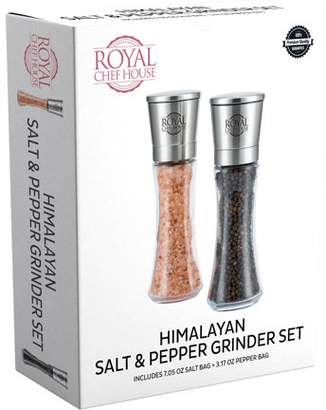 Royal Chef House Himalayan Salt and Pepper Grinder Set with Ceramic Blades - Premium Glass and Stainless Steel Salt Mill and Pepper Mill + Pre-filled with Salt and Pepper + 1 Salt Refill Bag and 1 Pepper Refill Bag