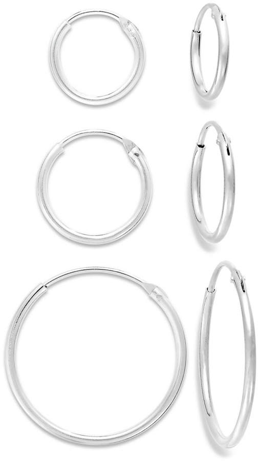 Unwritten Endless Hoop Earrings Trio in Sterling Silver (10-20mm)