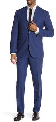 Jack Victor Napoli Blue Crosshatch Two Button Notch Lapel Wool Suit