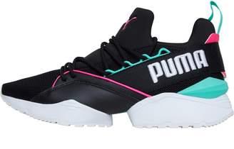 Puma Womens Muse Maia Street 1 Trainers Black/Knockout Pink