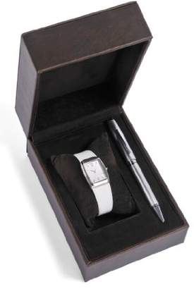 Cross Gift-Set Women's Quartz Watch with White Dial Analogue Display and White Leather Strap CR4008