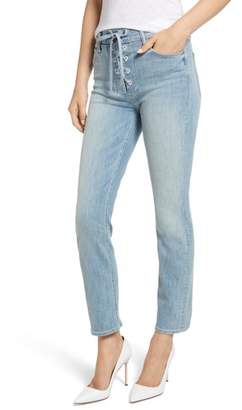 Mother The Lace-Up Dazzler High Waist Ankle Straight Leg Jeans