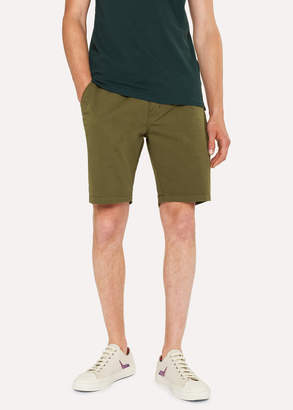 Paul Smith Men's Khaki Garment-Dyed Stretch Pima-Cotton Shorts