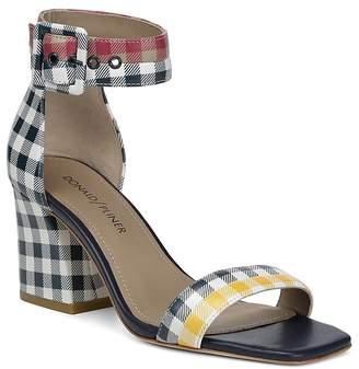 Donald J Pliner Women's Watson Gingham-Print Color-Block Leather Block Heel Sandals
