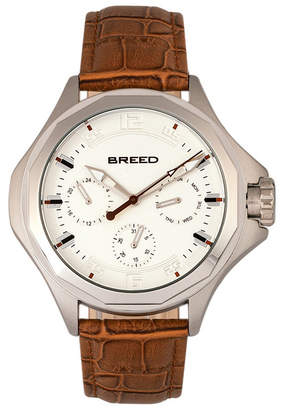 Breed Quartz Tempe Light Brown And Silver Genuine Leather Watches 43mm