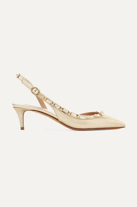 Valentino Garavani The Rockstud Leather Slingback Pumps - Gold