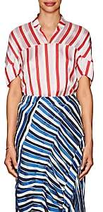 Zero Maria Cornejo WOMEN'S CONCAVE STRIPED TWILL BLOUSE - FUSCHIA/POPPY SIZE 0