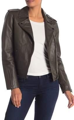 Badgley Mischka Asymmetrical Moto Leather Jacket