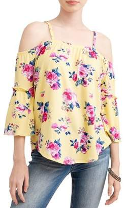 Eye Candy Juniors' Peached Jersey Bell Sleeve Cold Shoulder Blouse