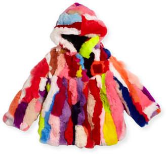 Adrienne Landau Multicolor Fur Coat, Sizes 2T-12Y