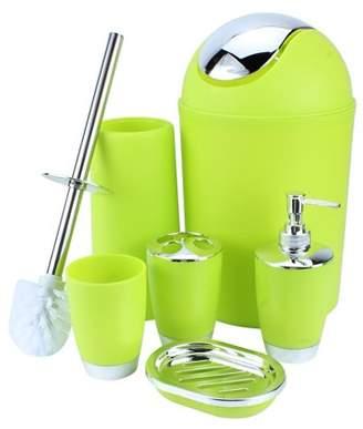 6 Piece Bathroom Accessories Set, Estink Plastic 6pcs Bath Ensemble ToiletBrush and Holder, Lotion Bottles, Tooth Mug, Soap Dish, Trash Can and Soap Dispenser Set(Green)