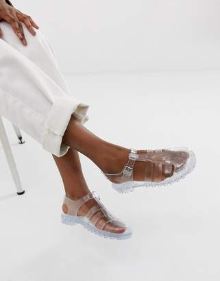 clear Asos Design ASOS DESIGN Fuller fisherman jelly flat sandals