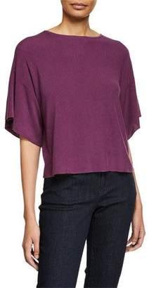 Eileen Fisher Bateau-Neck Elbow-Sleeve Sweater