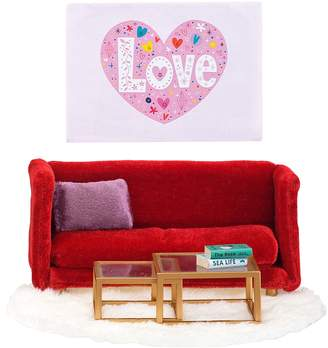Lundby Smaland Doll's House Red Living Room Furniture & Artwork Set