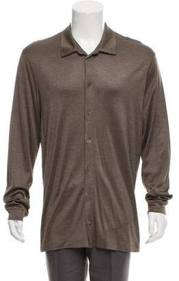 Giorgio Armani Silk Knit Button-Up Shirt