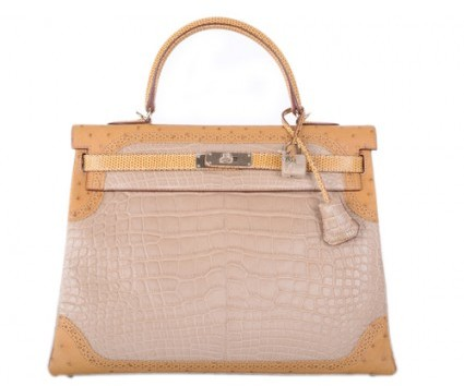 Hermes pristine (PR Limited Edition 35cm Tri Exotic Grand Marriage Alligator Kelly Bag with Gold Hardware