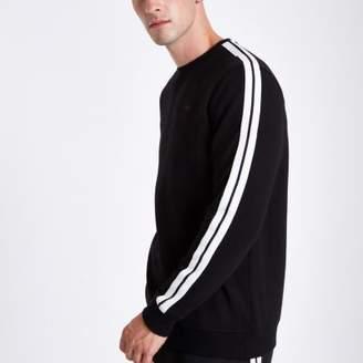 River Island Black slim fit tape sleeve sweatshirt