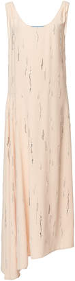 Prada Asymmetric Embellished Georgette Dress