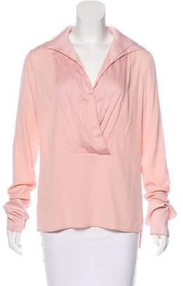 Halston Silk Long Sleeve Top w/ Tags