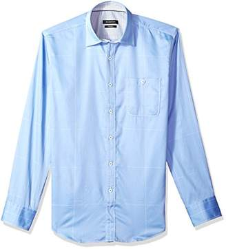Bugatchi Men's Soft Cotton Slim Fit Roll-up Sleeve Sport Shirt