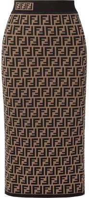 Fendi Jacquard-knit Midi Skirt - Tan