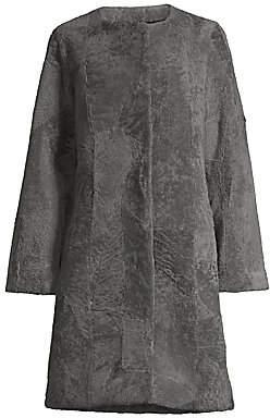 Pologeorgis Women's Patchwork Shearling Coat