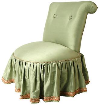 One Kings Lane Vintage 1980s Seafoam Silk Boudoir Chair - N.P.Trent Antiques