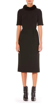 Carolina Herrera Mink-Fur Short-Sleeve A-Line Wool Midi Dress