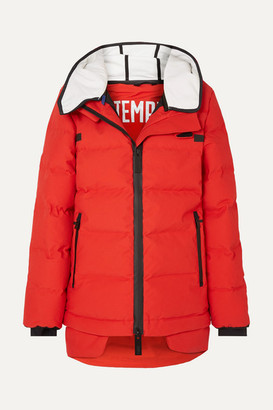 TEMPLA - 3l Hooded Waterproof Quilted Shell Down Jacket - Red